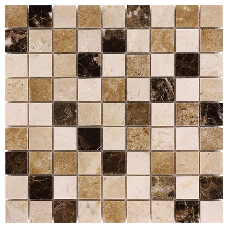 Traver.+Emper. Travertine mix 32 Mramorové mozaiky DUNIN (30,5 x 30,5 cm / 1 ks)