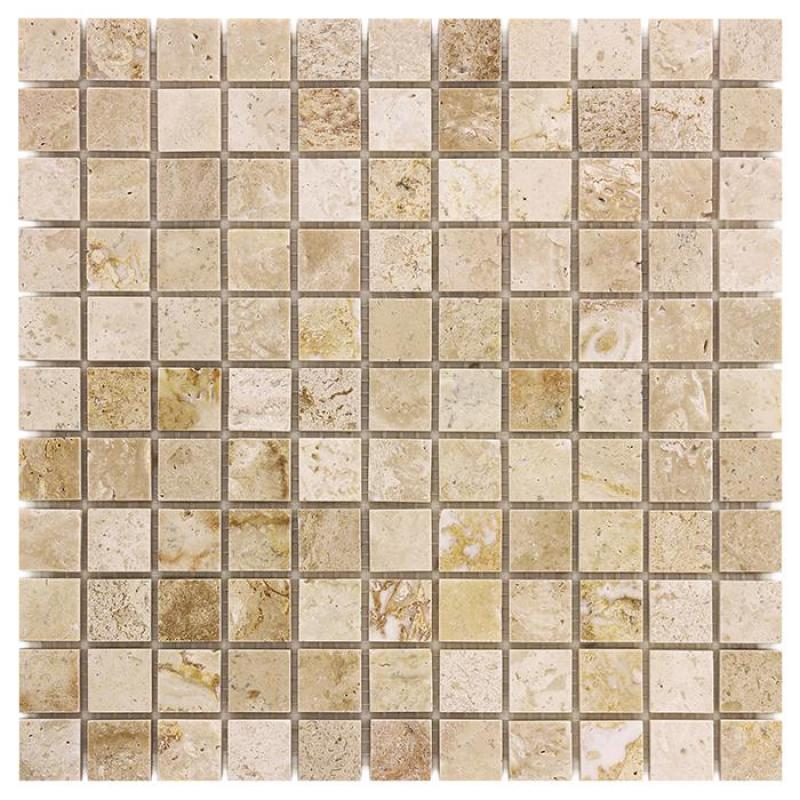 Traver.+Emper. Travertine CREAM 25 Mramorové mozaiky DUNIN (30,5 x 30,5 cm / 1 ks)