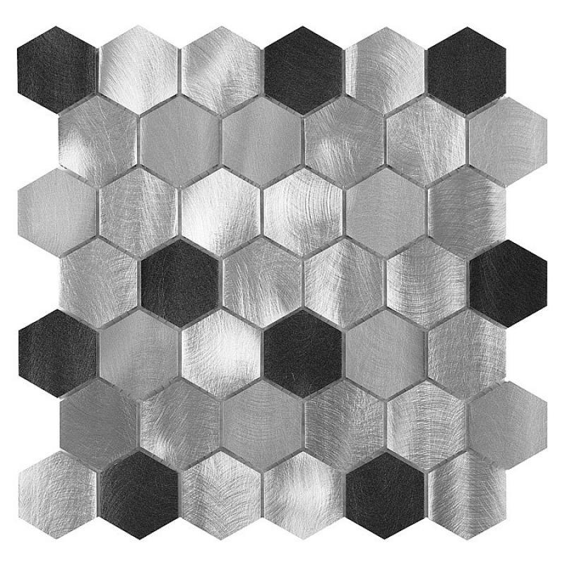Kovová mozaika DUNIN Allumi Grey Hexagon MIX 48 (28,7 x 29,9cm/1ks)